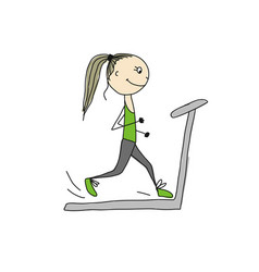 girl on treadmill sketch for your design vector image