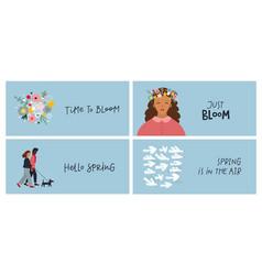 Girl spring lettering postcard bundle vector