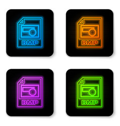 glowing neon bmp file document icon download bmp vector image