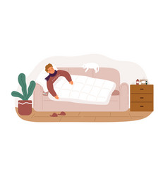 Guy with fever and influenza symptoms lying on vector
