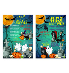 halloween holiday ghost scary party posters vector image vector image