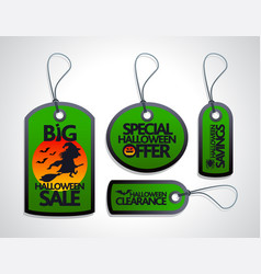 halloween sale concept design tags set green vector image