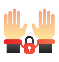 Handcuffs on hands flat icon arrest color icons vector