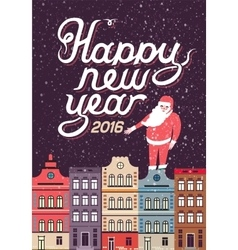Happy New Year in a town vector image