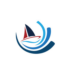 icon of sailing yacht and ocean waves white vector image
