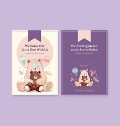 Invitation card template with baby shower design vector