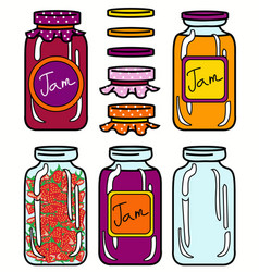 Isolated jars set in retro style vector