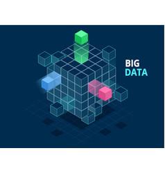 isometric abstract big data cube box data vector image