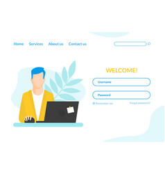 landing page template businessman working at vector image