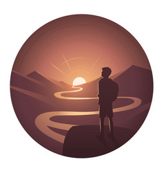 Landscape excursion round icon vector