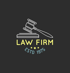 law office logo with gavel vector image