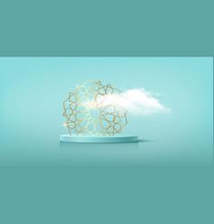 Luxury islamic podium gold islamic frame symbol vector