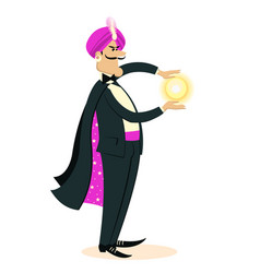 magician doing a trick with magic sphere in hands vector image
