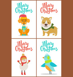 merry christmas collection dog snowman bird puppy vector image