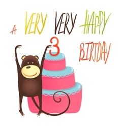 Monkey Cake Three Years Old with Happy Birthday vector image