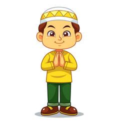 Moslem boy greeting vector
