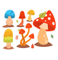 mushrooms fungus agaric toadstool different art vector image