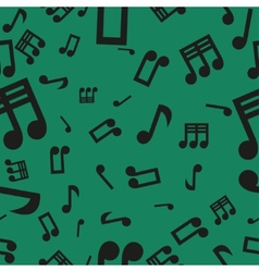 Musical Notes Seamless Pattern Green vector image