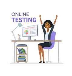 online testing - cartoon character vector image