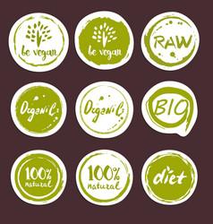 organic food hand drawn labels set vector image