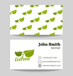 Organic natural food farmer business card vector image