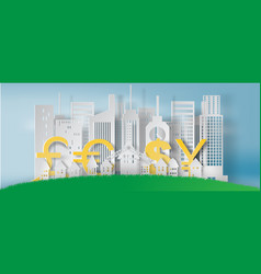 Paper art of cityscape and lanscape with business vector
