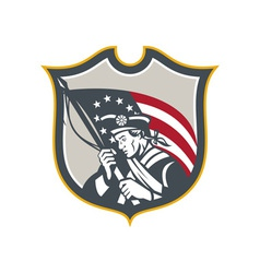 Patriot Holding American Flag Shield Retro vector