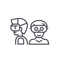 people with virtual reality headset concept vector image