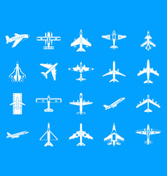 plane icon blue set vector image