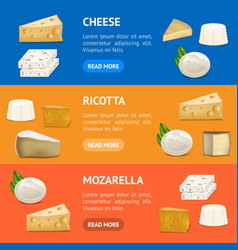 Realistic detailed 3d cheese banner horizontal set vector
