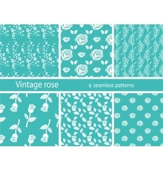 Rose flower set vintage patterns vector image