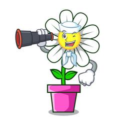Sailor with binocular daisy flower mascot cartoon vector
