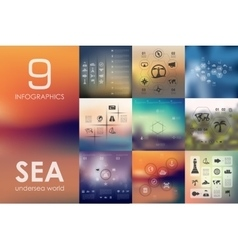 Sea infographic with unfocused background vector