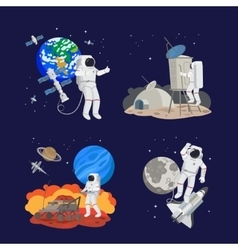 set astronauts in space vector image