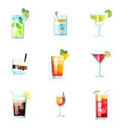 Set nine tropical cocktails mojito tom vector