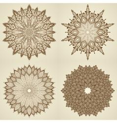 Set of four mandalas Beautiful flowers vector image