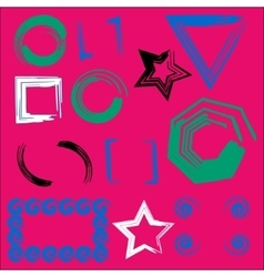 Set of geometric frames pink background vector image