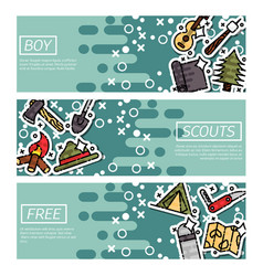 Set of horizontal banners about boy scouts vector