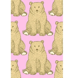 Sketch cute bear in vintage style vector image