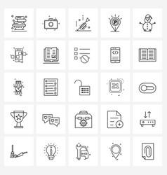 Stock icon set 25 line symbols for snowman vector