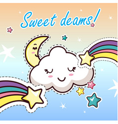 Sweat dreams kawaii cartoon flat clothes sticker vector