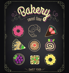 sweet bakery menu set on a chalkboard for design vector image