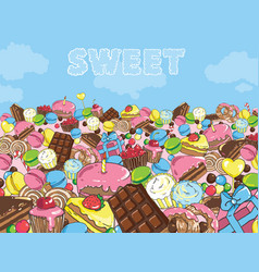 Sweets filled entire landscape to horizon vector