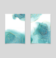 Teal blue and mint colored liquid watercolor vector