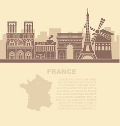 template leaflets with a map of france vector image