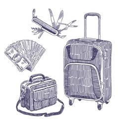 Travel objects drawings set vector
