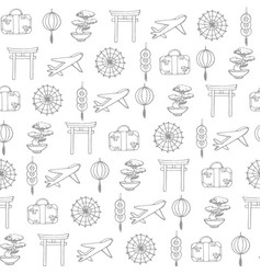 travel to asia seamless pattern with plane and bag vector image