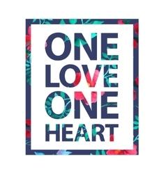 Tropical print love slogan vector