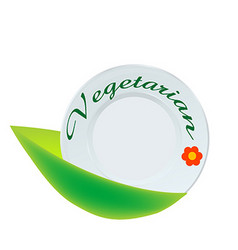 Vegetarian plate icon vector