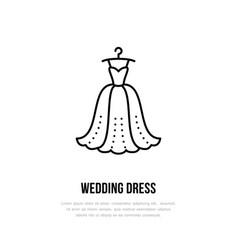 Wedding dress on hanger icon clothing shop line vector